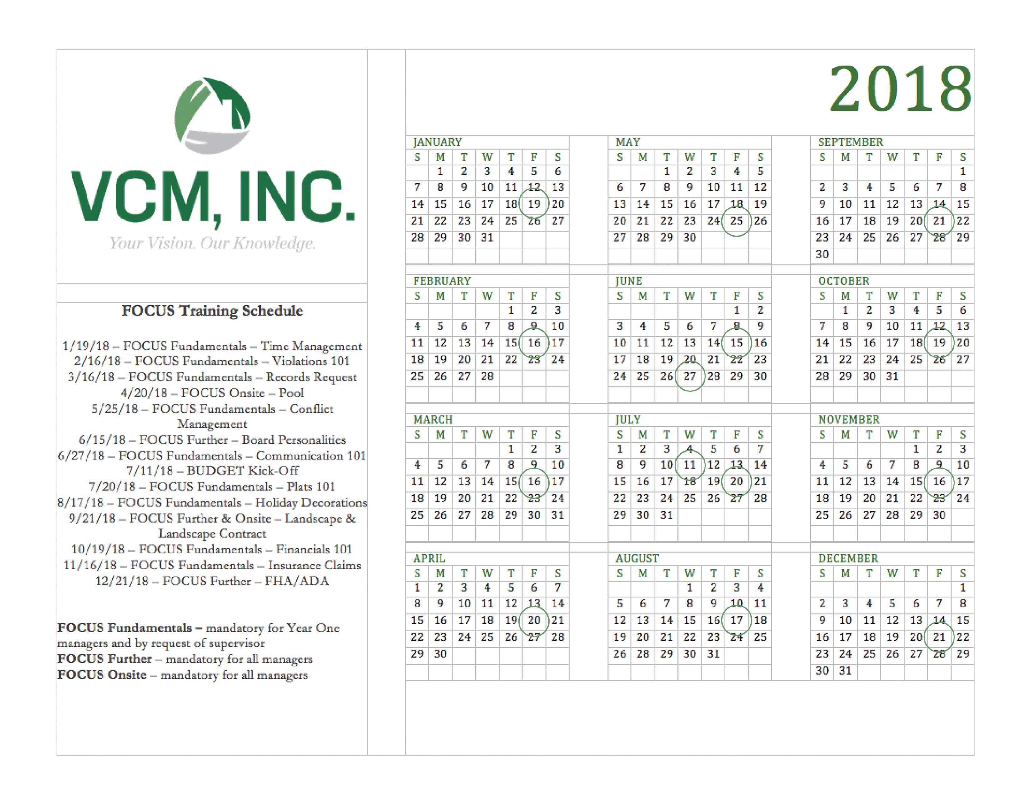 VCM Calendar